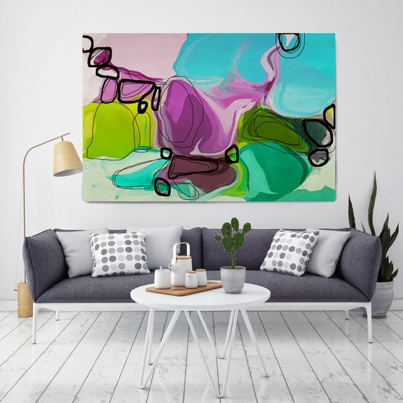"River Blossoms. Green, Blue, Perple Abstract Art, Extra Large Abstract Colorful Contemporary Canvas Art Print up to 72"" by Irena Orlov"