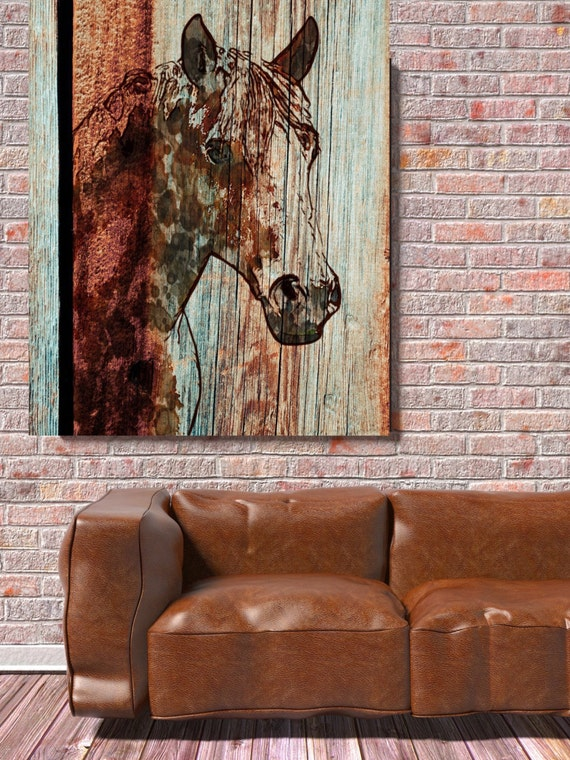 """Orange Horse. Extra Large Horse, Unique Horse Wall Decor, Brown Rustic Horse, Large Contemporary Canvas Art Print up to 72"""" by Irena Orlov"""