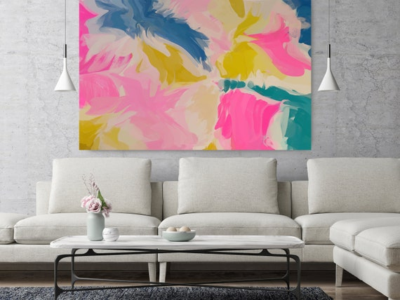 "Reflections Of Secrets 2, Abstract Painting Modern Wall Art Painting Canvas Art Print Art Modern Pink Green Blue up to 80"" by Irena Orlov"