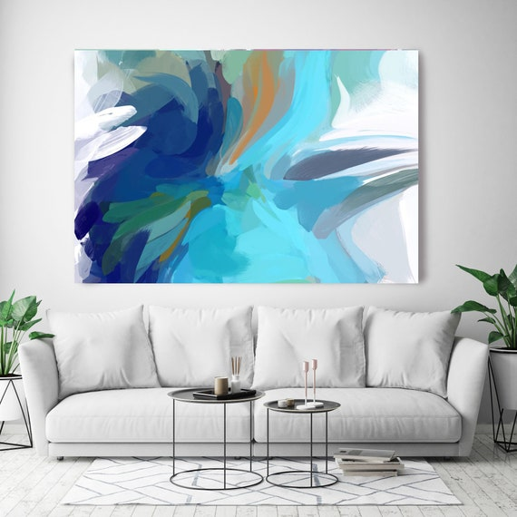 "The Color MovemenT 6, Blue Navy, Abstract Blue Painting Modern Wall Art Painting Canvas Art Print Modern White Blue up to 80"" by Irena Orlov"
