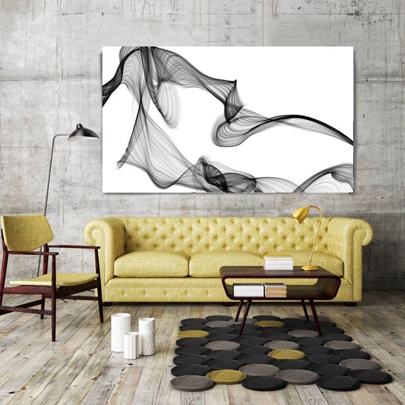 """ORL-7371-42 Rhythm and Flow. Contemporary Abstract Black and White, Wall Decor, Large Contemporary Canvas Art Print up to 72"""" by Irena Orlov"""