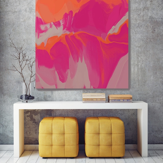 """Volcano Spectacular. Original Oil Painting on Canvas, Contemporary Abstract Orange, Brown, Red Oil Painting up to 50"""" by Irena Orlov"""