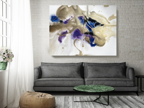 Gold in Blue Watercolor Abstract 2, Wall Art Decor, Gold Abstract Art, Large Wall Art Abstract Canvas Print, Gold Blue Purple Art for Home