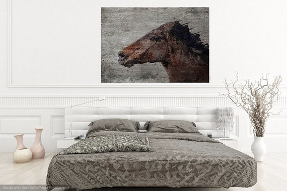 Horse Painting, Horse Art, Horse Print, Horse Wall Art, Running Wild Horse, Horse Wall Decor, Brown Rustic Horse, Large Canvas Art Print