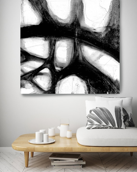 Black and white Abstract Monochrome art Minimalist Art on canvas Modern Minimalism Painting Textured Painting on Canvas, Canvas Print