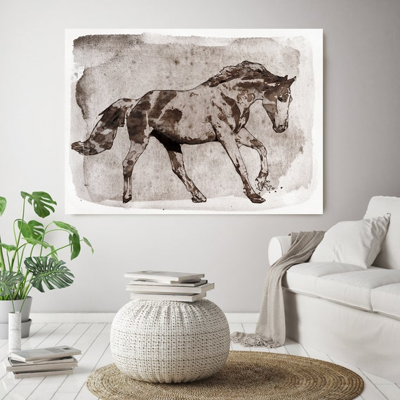 Running Brown Horse. Horse Painting Art Horse Home Decor Horse Canvas Horse Canvas Art Horse Poster Horse Print Horse Horse Wall Decor