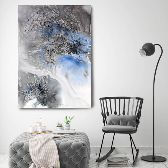 """Coastal Watercolor Abstract 16. Watercolor Abstract Blue Black Canvas Art Print up to 72"""" by Irena Orlov"""