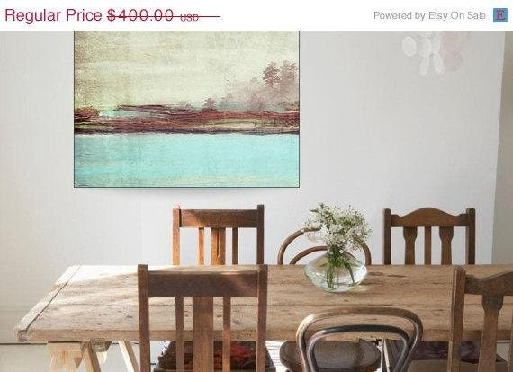ON SALE Blue Landscape. Canvas Print by Irena Orlov, large landscape canvas print, wall decor, abstract landscaps, nature print