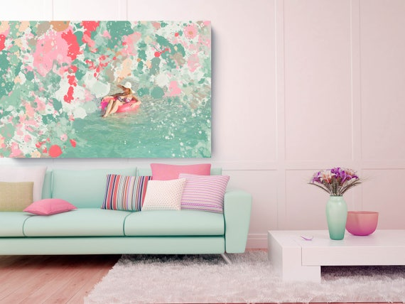 """Funny Sunny Day, Abstract Pool Photography Art, Wall Decor, Extra Large Pink Teal Canvas Art Print up to 72"""" by Irena Orlov"""