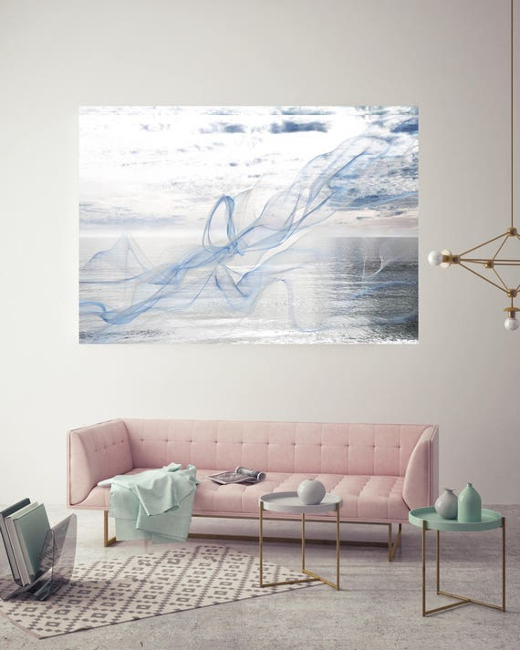 "ORL-11590-1 Silver ocean breeze 7. Extra Large Contemporary Blue Canvas Art Print, Seascape Abstract Canvas Art up to 80""  by Irena Orlov"