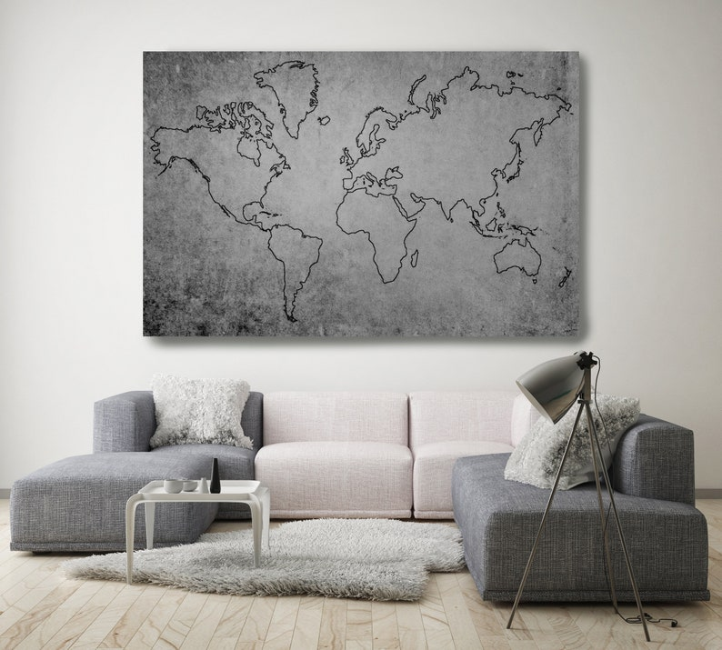World Map Wall Art Huge World Map Grey Rustic Map Etsy