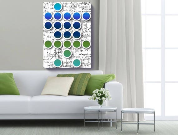 "Mathematical formulas 5. Geometrical New Media Art, Wall Decor, Extra Large Abstract Green Blue Canvas Art Print up to 72"" by Irena Orlov"