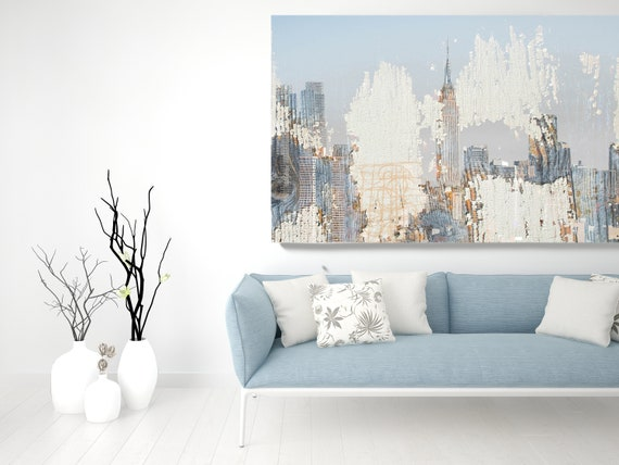 New York City Skyline 2, Cityscape Painting, Blue Large Abstract Urban Painting Canvas Print, Urban New York, Office Art