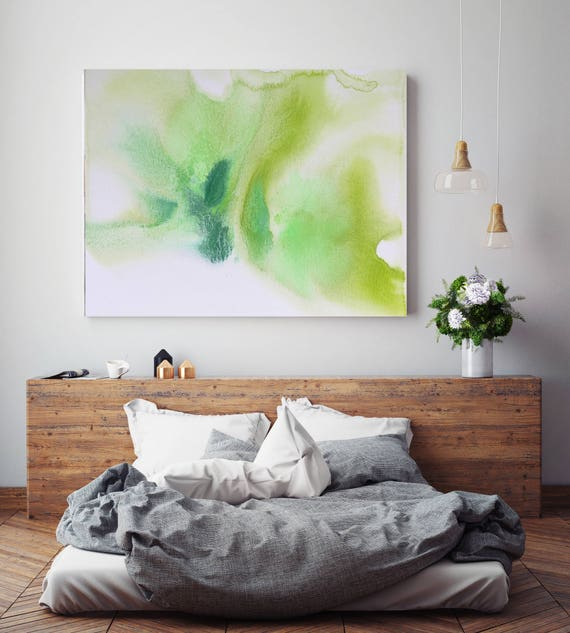 "Watercolor Coastal Abstract 90. Contemporary Abstract Green Aqua Canvas Art Print up to 72"", by Irena Orlov"