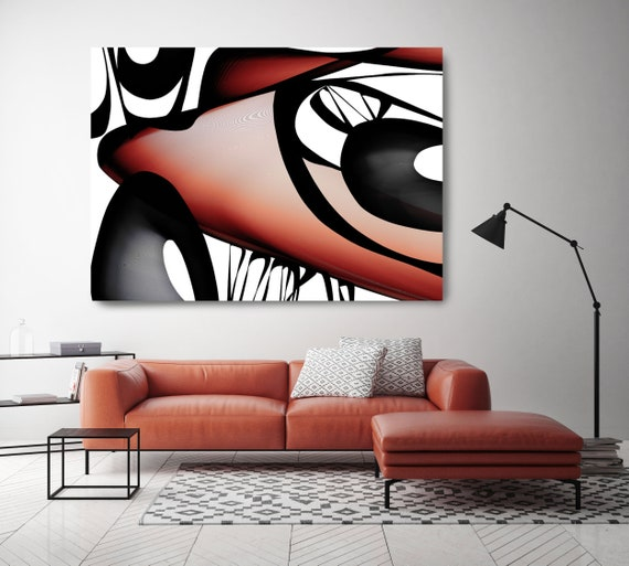 "Mid-Century Abstract 13. Mid-Century Modern Red Black Canvas Art Print, Mid Century Modern Canvas Art Print up to 72"" by Irena Orlov"