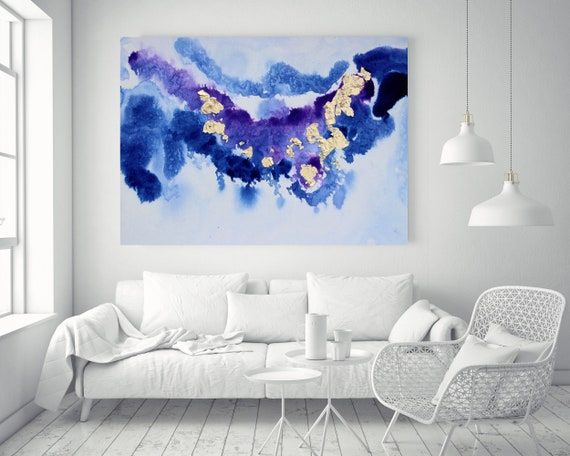 "Blue  Purple and Gold Watercolor abstract splash 2-1. Watercolor Abstract, Extra Large Abstract Canvas Art Print up to 72"" by Irena Orlov"