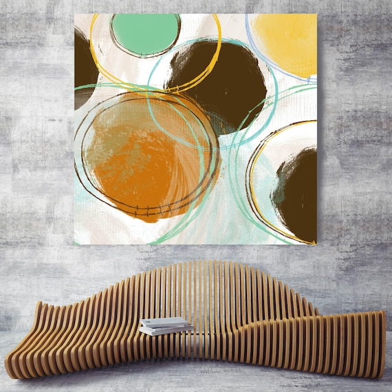 "Orange Brown Abstract II. Geometrical Abstract Canvas Print up to 48"", Extra  Large Colorful Abstract Canvas Print"