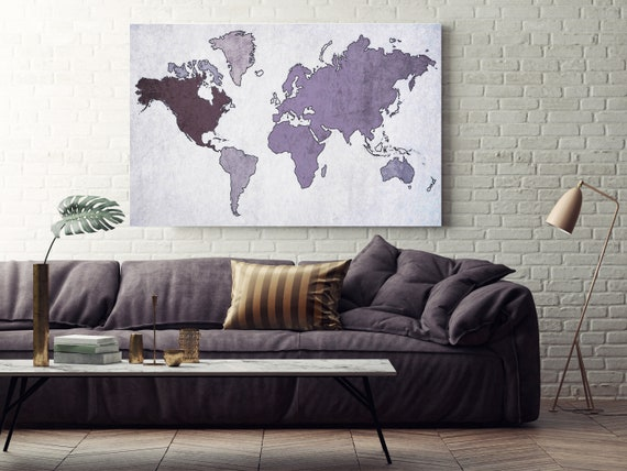 Huge world map, Executive gift, Purple Rustic map, Industrial art, Cottage wall, Vintage Map, Map canvas art print, Purple  Map,Antique Map
