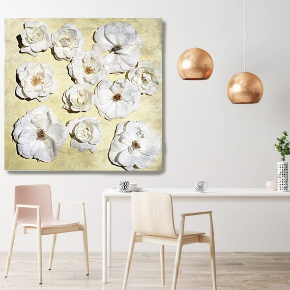 "Shabby Chic Flowers 69. Rustic Floral Painting, Yellow White Rustic Large Floral Canvas Art Print up to 48"" by Irena Orlov"