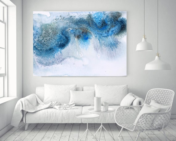 "Blue Water Watercolor abstract splash 1. Watercolor Abstract, Extra Large Abstract Contemporary Canvas Art Print up to 72"" by Irena Orlov"