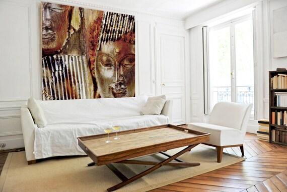 Gold Silver Buddha Painting Canvas Print, Buddha Wall Art, Spiritual Buddha Wall Art, Buddhist art, Zen wall painting, Canvas Wall Art Print