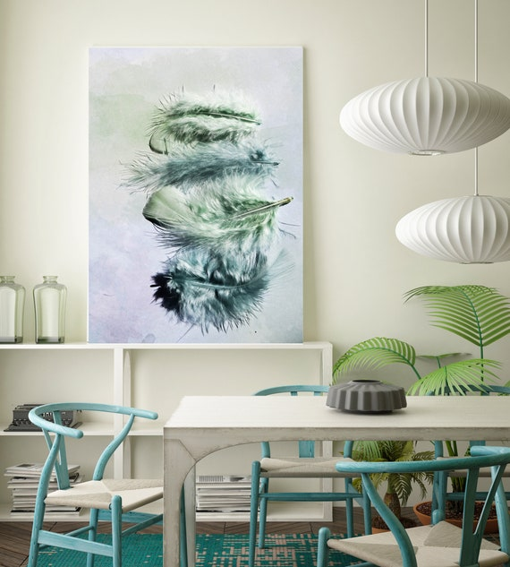 """Elegant feathers in light green 2. Blue, Green Feather Photography, Extra Large Feather Canvas Art Print up to 72"""" by Irena Orlov"""