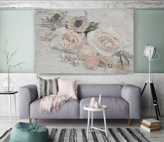 "Cozy Shabby Chic. Floral Painting, Pink Beige Abstract Art, Large Abstract Colorful Contemporary Canvas Art Print up to 72"" by Irena Orlov"