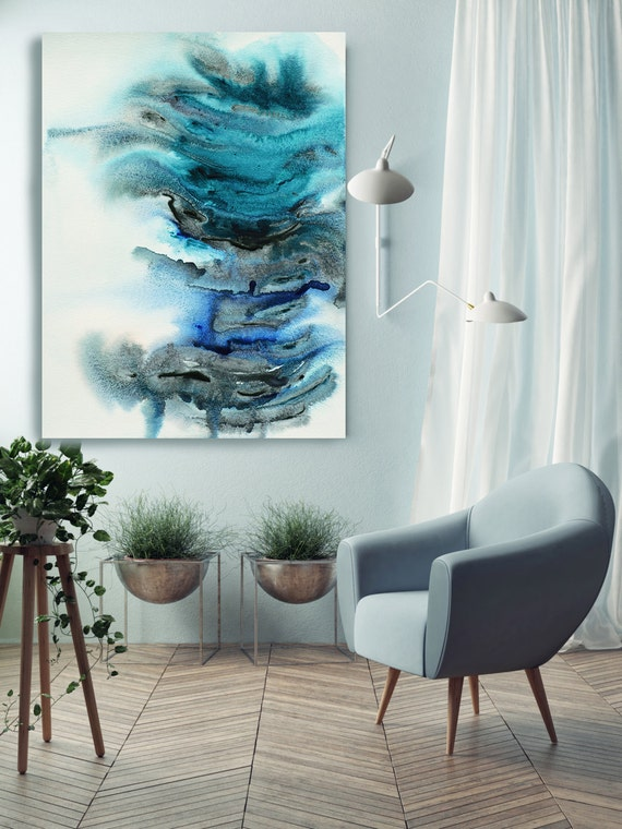 """Under Water. Watercolor Abstract, Modern Wall Decor, Extra Large Abstract Colorful Contemporary Canvas Art Print up to 72"""" by Irena Orlov"""