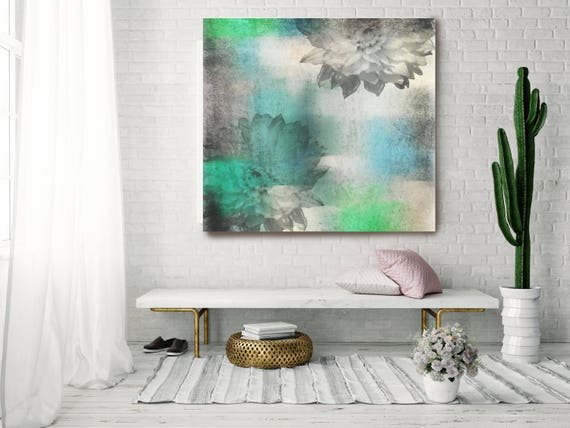 "Uncover its Hidden Beauty. Floral Painting, Blue Gray Green Abstract Art, Colorful Contemporary Canvas Art Print up to 48"" by Irena Orlov"
