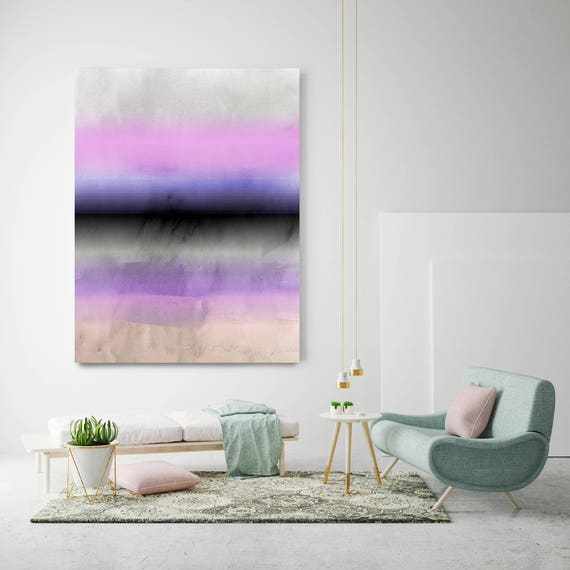 "Inspired by Rothko 55. Purple Pink Watercolor Abstract, Modern Wall Decor, Large Abstract Colorful Canvas Art Print up to 72"" by Irena Orlov"