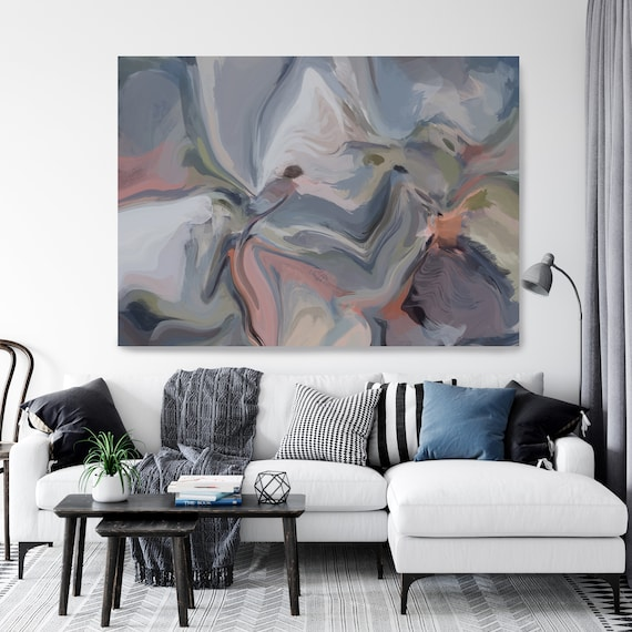 Blue Pink Extra Large Abstract Painting, Blue Pink Abstract Art, Large Wall Art Abstract Canvas Print, Magic Evening colorful abstract Trend