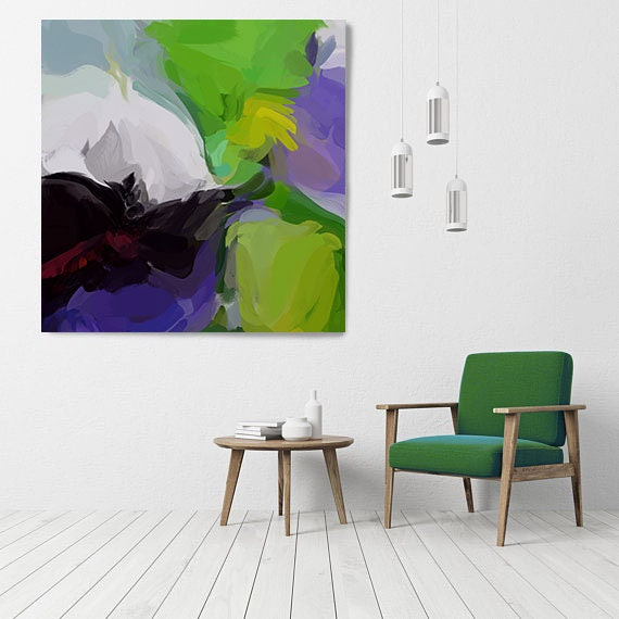 "Your Own Way 2, Art Abstract Print on Canvas up to 50"", Green Purple Abstract Canvas Art Print, Sunny City by Irena Orlov"