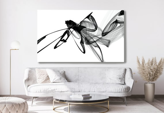 Black and White Wall Art Home Decor Wall Art Black White Abstract Canvas Print Brush Stroke Office Art Large Wall Art, Apart existence