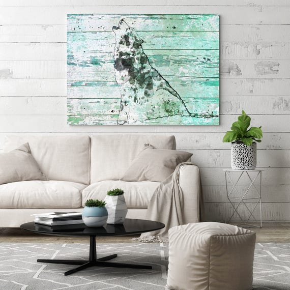 "Wild Wolf in teal 9. Extra Large Wolf Canvas, Unique Wolf Wall Decor, Teal White Rustic Wolf Canvas Art Print up to 72"" by Irena Orlov"