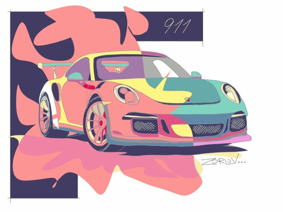 "Pink Porsche, Porsche Large Pink Green Porsche 911 Painting Canvas Art Print, Kids Wall Decor, Cars Wall Decor up to 72"" by Zeev Orlov"