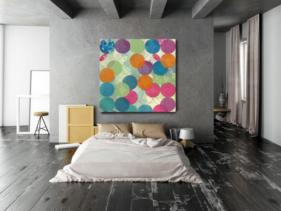 Geometric Circles Abstract 3094-7,  Large Abstract Canvas Art, Abstract giclee, geometrical abstract print, large abstract by Irena Orlov