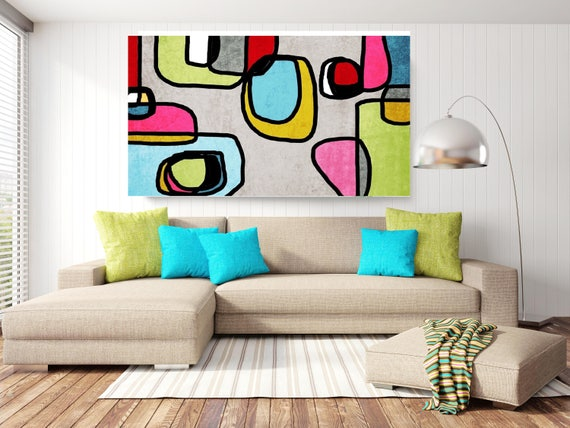 "Vibrant Colorful Abstract-0-37. Mid-Century Modern Blue Green Canvas Art Print, Mid Century Modern Canvas Art Print up to 72"" by Irena Orlov"