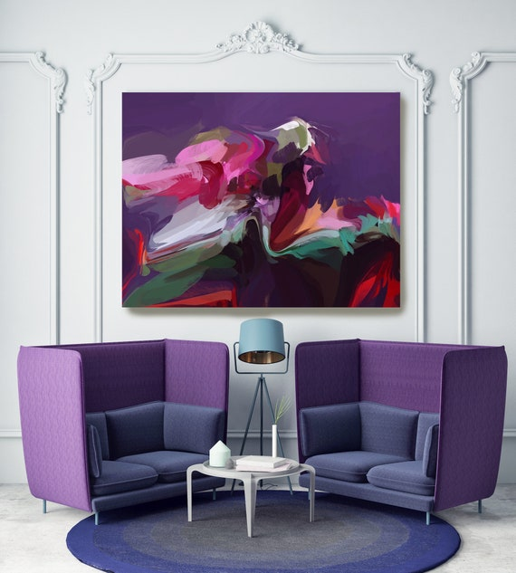 Brainstorming Colorful Abstract Painting Purple Red Green / Large Abstract Art / Abstract Art / Cheerful Abstract Art, Fluid painting