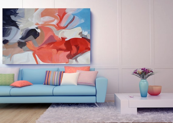 Birth of an Idea. Original Contemporary Abstract Red Blue Acrylic Painting  on Unstretched Canvas by Irena Orlov 78 x 55 inches