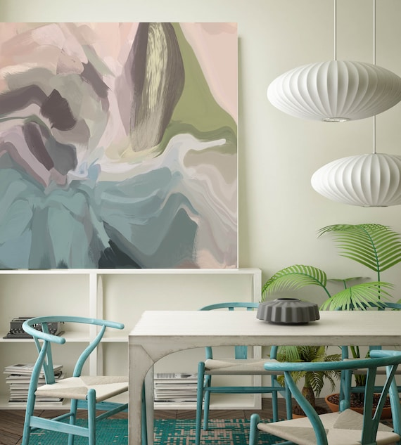 """Pastel Expression. ORIGINAL LARGE Abstract Painting, Contemporary Abstract Blue White Green Pink Oil Painting up to 50"""" by Irena Orlov"""