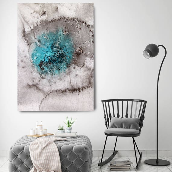 """Coastal Watercolor Abstract 29. Watercolor Abstract Blue Black Canvas Art Print, Extra Large Canvas Art Print up to 72"""" by Irena Orlov"""