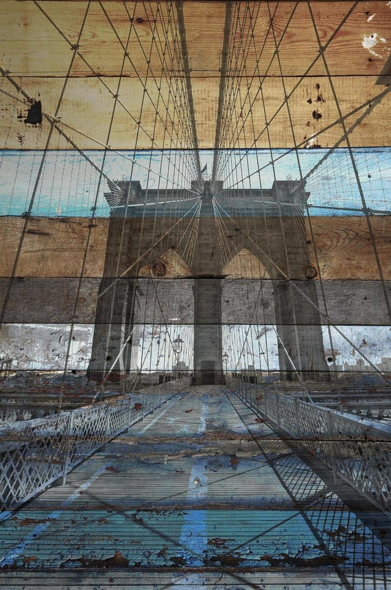 """New York. Brooklyn Bridge II. Extra Large Rustic Blue Brown Architectural Canvas Art Print up to 60""""  by Irena Orlov"""