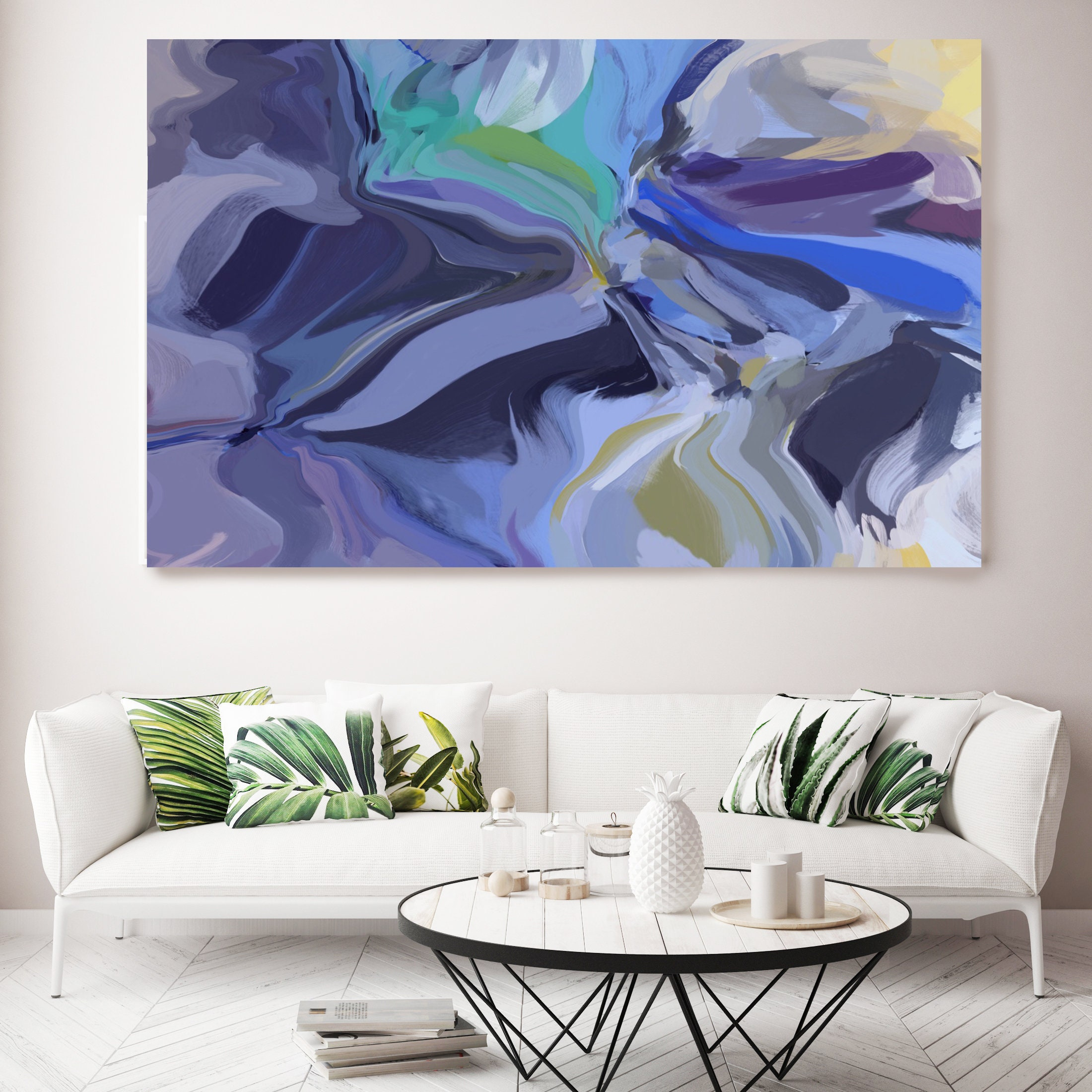 Bora Bora Large Art Abstract Painting Blue Green Wall Art