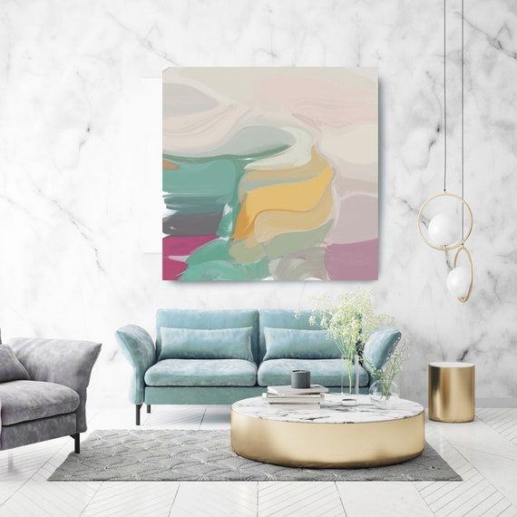 """Sunlight Sparkles. Mint Pink Yellow Abstract Art Wall Decor, Large Abstract Pink Mint Contemporary Canvas Art Print up to 50"""" by Irena Orlov"""
