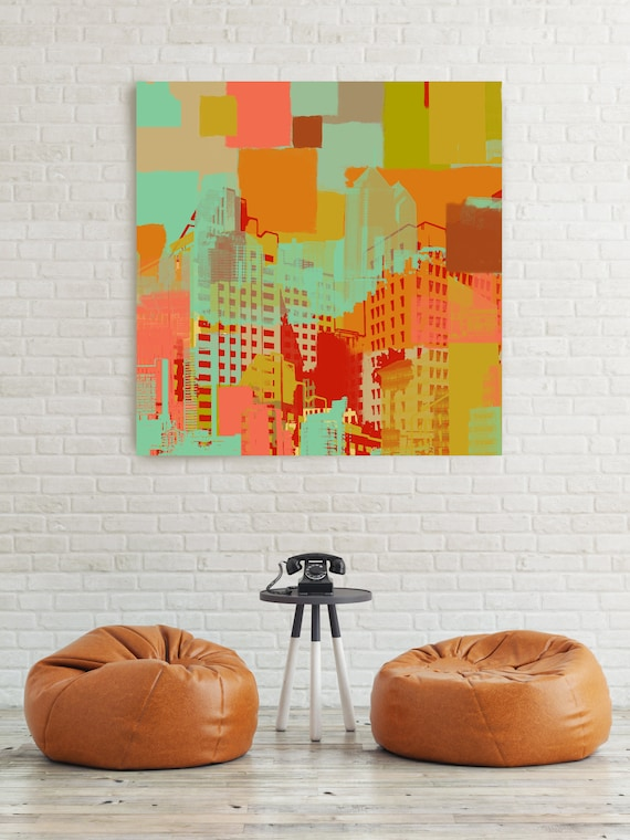 """The City Center, Large Architectural Cityscape Canvas Art Print. Colorful Brown URBAN Canvas Art Print up to 48"""" by Irena Orlov"""