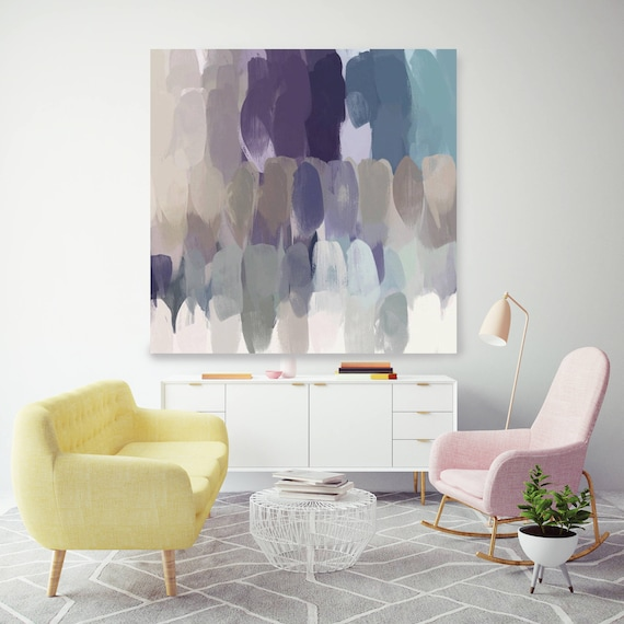 """Mix feelings. Geometrical Abstract Art, Wall Decor, Extra Large Abstract Purple Contemporary Canvas Art Print up to 48"""" by Irena Orlov"""