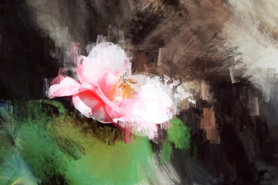 """Beyond the wind. Floral Painting, Pink Green Abstract Art, Large Abstract Colorful Contemporary Canvas Art Print up to 72"""" by Irena Orlov"""