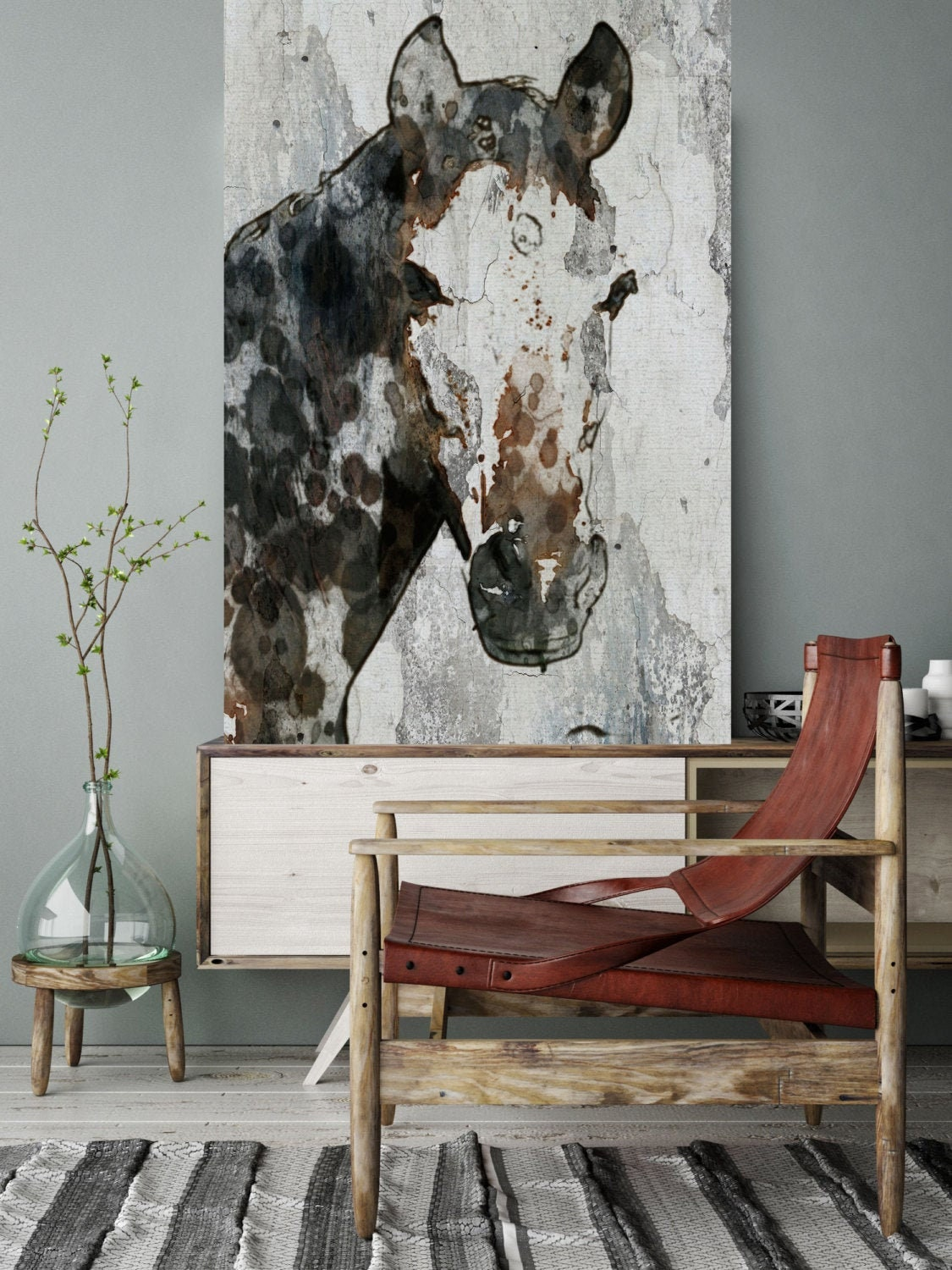 Horse Portrait Extra Large Horse Unique Horse Wall Decor Brown Black White Rustic Horse Large Canvas Art Print Abstract Horse Equine Art