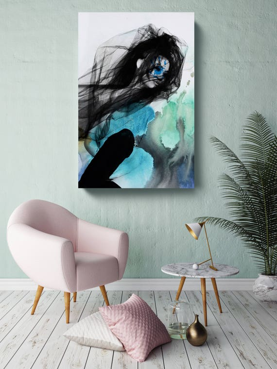 "Blue Butterfly 8, Figurative Mixed Media Contemporary Blue Black Woman Canvas Art Print up to 72"" by Irena Orlov"