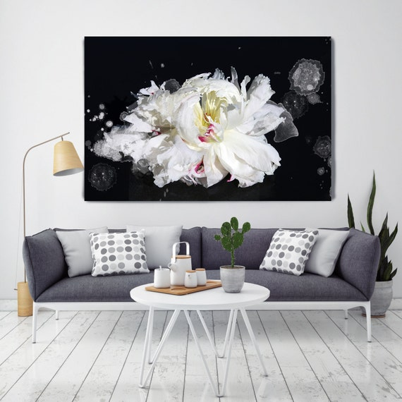 Breathless 2. Floral Painting, White Green Black Abstract Art, Black White Painting, Floral Painting on Canvas, Canvas Art Print